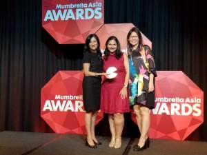 Weber Shandwick's Vanessa Ho, Manisha Jham & Mabel Phoon at Mumbrella Asia Awards 2017.